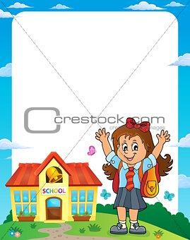 Happy pupil girl theme frame 1