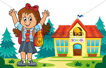 Happy pupil girl theme image 6