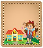 Happy pupil girl theme parchment 1