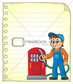 Notepad page with gas station worker