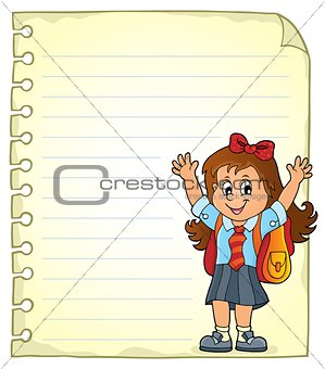Notepad page with happy pupil girl