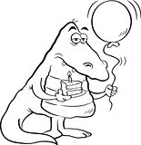 Cartoon Alligator Holding a Piece of Cake and a Balloon