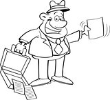 Cartoon Businessman Holding an Open Briefcase and a Paper
