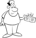 Cartoon Man Holding an Empty Wallet