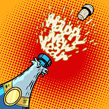 Champagne bottle opens, foam and cork
