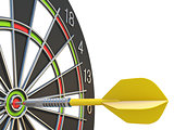 Close up yellow dart arrow on center of dartboard 3D