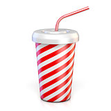 Red striped paper glass with drinking straw 3D