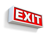 Red EXIT sign on white wall 3D