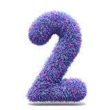 Purple faux fur number 2 TWO 3D
