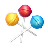 Three sweet lollipops 3D rendering illustration on white backgro