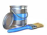 Blue color metal paint can and brush 3D