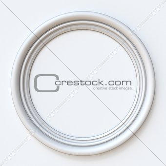White picture frame circular 3D rendering illustration on white