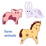 Farm animals pig, rabbit and horse isolated
