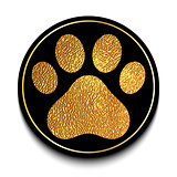 Golden animal paw print
