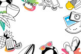 Summer doodles symbol and objects icon elements with space for t
