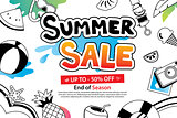 Summer sale with doodle icon and design on white background. Adv