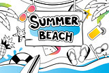 Summer doodle symbol and objects icon design for beach party bac
