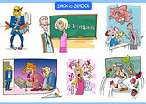 school and education humorous carton set