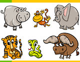cartoon wild animals funny characters set