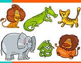 set of cartoon funny animal characters