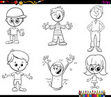children characters set coloring book