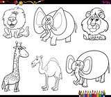 funny animal characters set coloring book