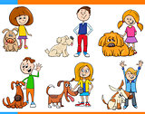 children with dogs cartoon set