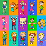 decorative pattern design with kids characters