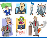 set of politics and politician cartoon concepts