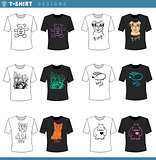 t shirt decorative designs set