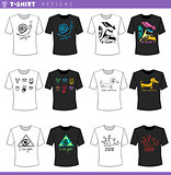 t shirt concept designs set