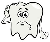 sad tooth cartoon character with cavity