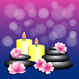 Spa background. Bamboo, candles, Spa stones, flowers for banner,