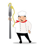 Happy cook with hat in uniform. Chef with big fork.