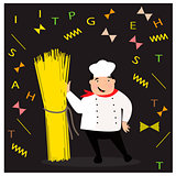 Happy cook with hat in uniform. Chef with spaghetti.