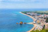 Coast beach resort Blanes, castle San Juan, Spain