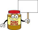 Cartoon Jar of Peanut Butter Holding a Sign