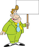 Cartoon Man in a Suit Holding a Sign