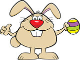 Cartoon Easter Bunny Holding an Easter Egg