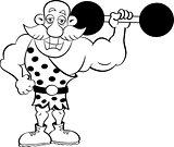 Cartoon Strongman Holding a Barbell