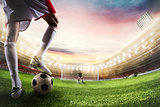 Soccer striker ready to kicks the ball in front of goalkeeper. 3D Rendering