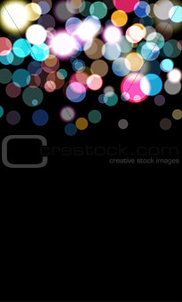 Coloftull balls, bokeh errect, blured circles, defocused balls on black background for card and invitation. Celebrate background, vector illustration.