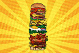 Huge Burger tower. Street fast food