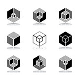 Design elements set. Cubic shape icons.