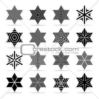 Star shape. Abstract geometric icons set.