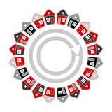 Houses in circle shape. Real estate concept.