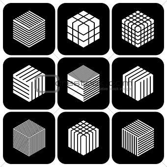 Design elements set. Cubic shape icons.