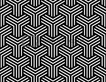 Seamless op art pattern. Illusion of  interlacing.
