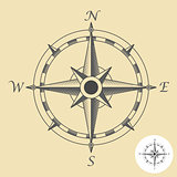 Compass or wind rose symbol - nautical navigation sign