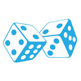 Dice - two gambling cubes, casino roulette concept